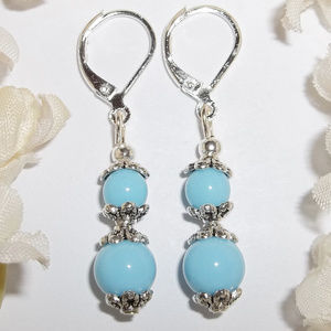 Dangle Earrings Baby Blue & Silver Handmade 4682